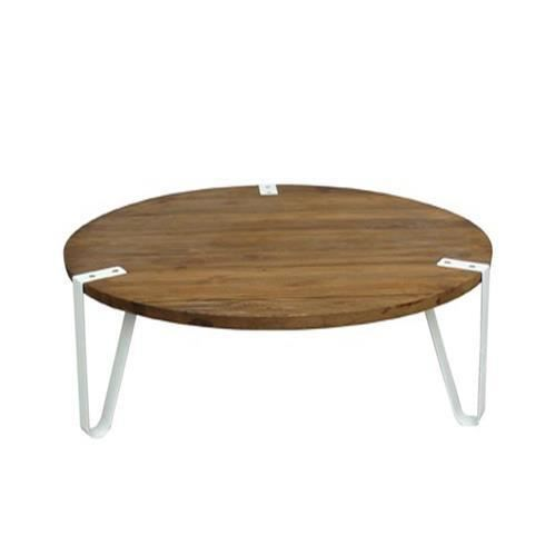 table basse ronde bois et m tal blanc design achat. Black Bedroom Furniture Sets. Home Design Ideas