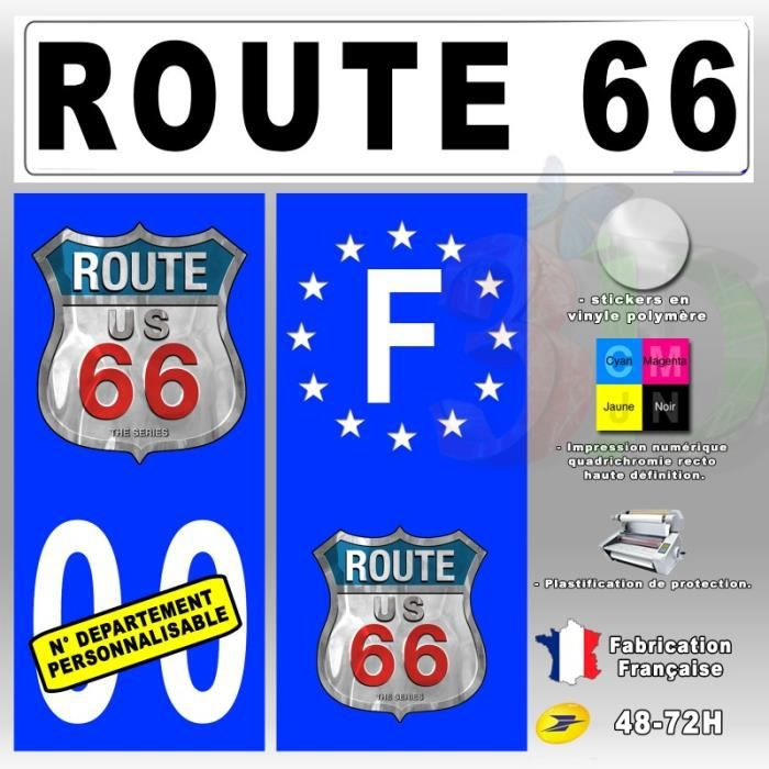 stickers plaque d 39 immatriculation 39 route 66 39 auto moto 110x45 mm achat vente stickers. Black Bedroom Furniture Sets. Home Design Ideas