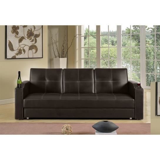 canape lit bar avec tiroir marron chocolat achat vente canap sofa divan soldes d s. Black Bedroom Furniture Sets. Home Design Ideas