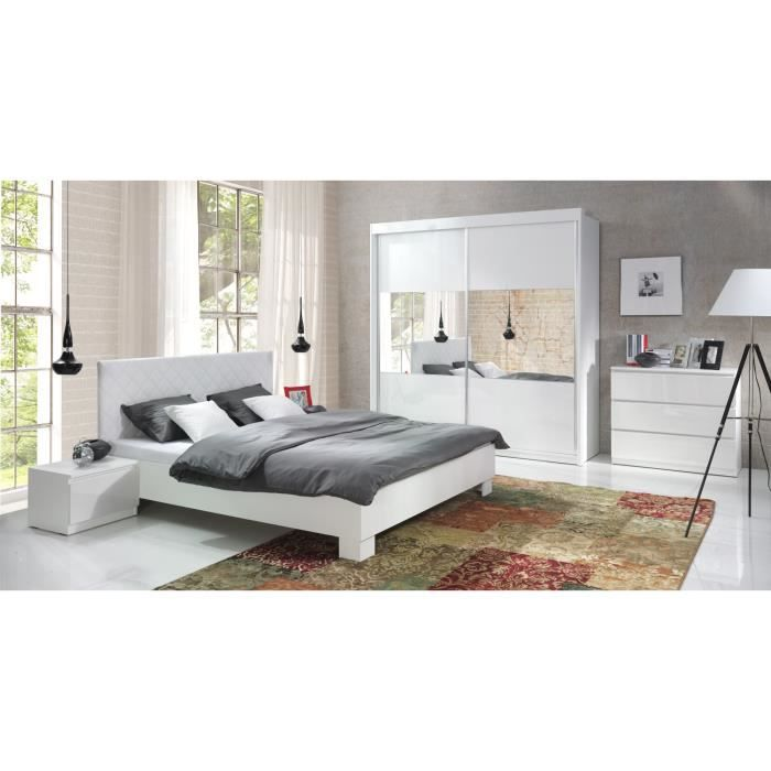 Ensemble blanc laqu lit design en simili cuir et 2 for Chambre adulte laque blanc