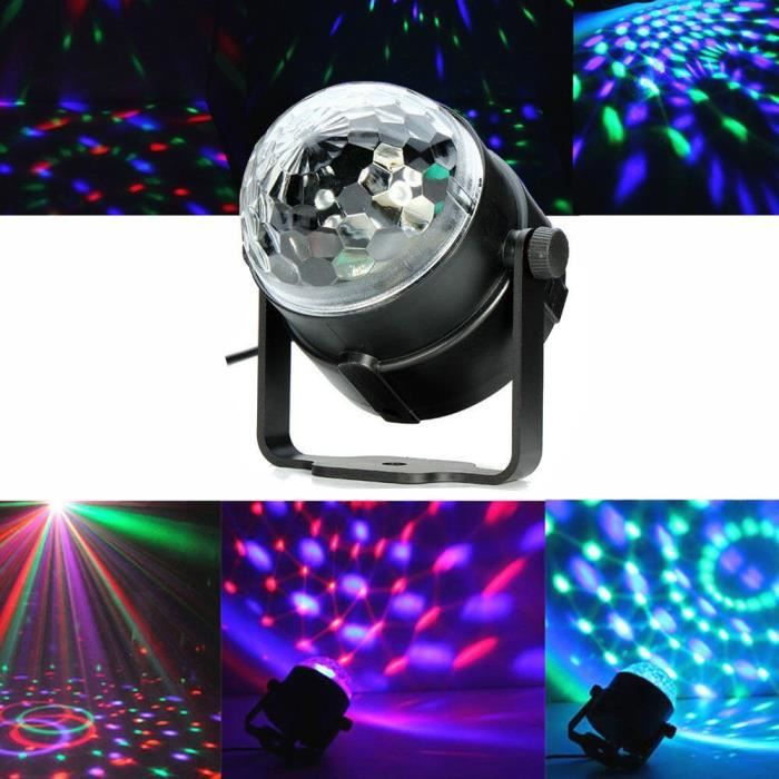 lampe de sc ne rgb dj led lumi re boule commande vocale 5w eu prise pour soir e bar anniversaire. Black Bedroom Furniture Sets. Home Design Ideas