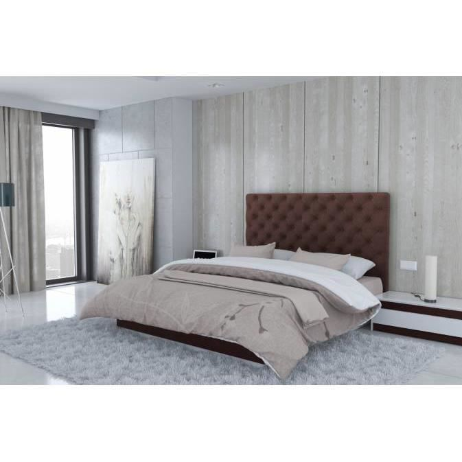 t te de lit en microfibre marron madrid largeur 180 cm achat vente lit complet t te de lit. Black Bedroom Furniture Sets. Home Design Ideas