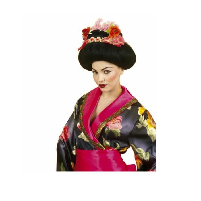 Noir perruque Geisha Japon femmes perruque avec des fleurs et de baguettes Cosplay Girl