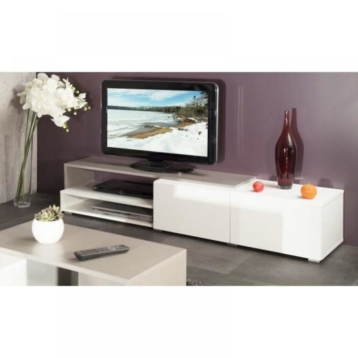 pacific meuble tv couleur blanc et taupe laqu achat vente meuble tv pacific meuble tv. Black Bedroom Furniture Sets. Home Design Ideas