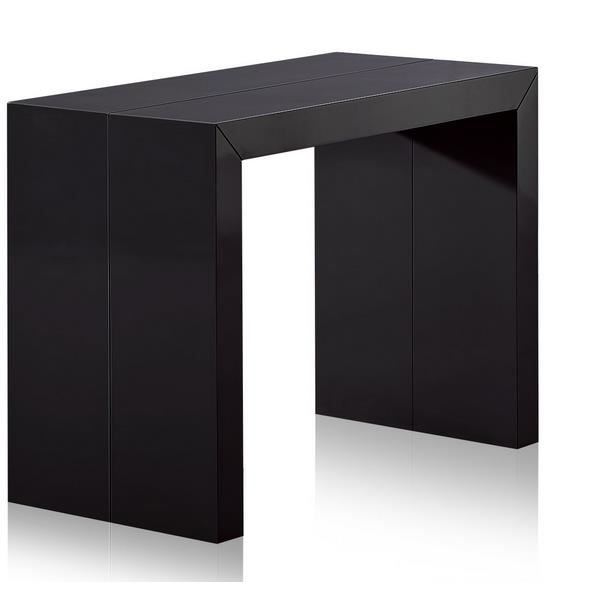 Table console extensible laqu e noir charly achat for Table extensible laquee