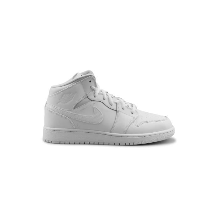 Basket Air Jordan 1 Mid Junior Blanc 554725-110