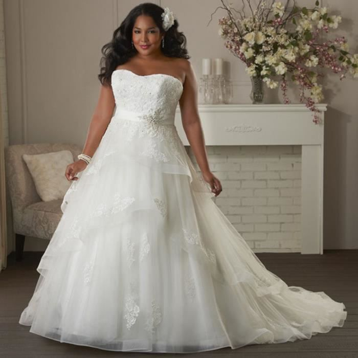 robe de mari e mariage tailles grosse dentelle maxi blanche bustier c r monie femme blanc blanc. Black Bedroom Furniture Sets. Home Design Ideas