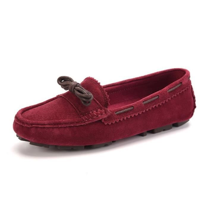 Kilty Suede Moccasin Flat Loafers Tie Bow Driving Walk Boat Shoes TB3QY Taille-36 1-2