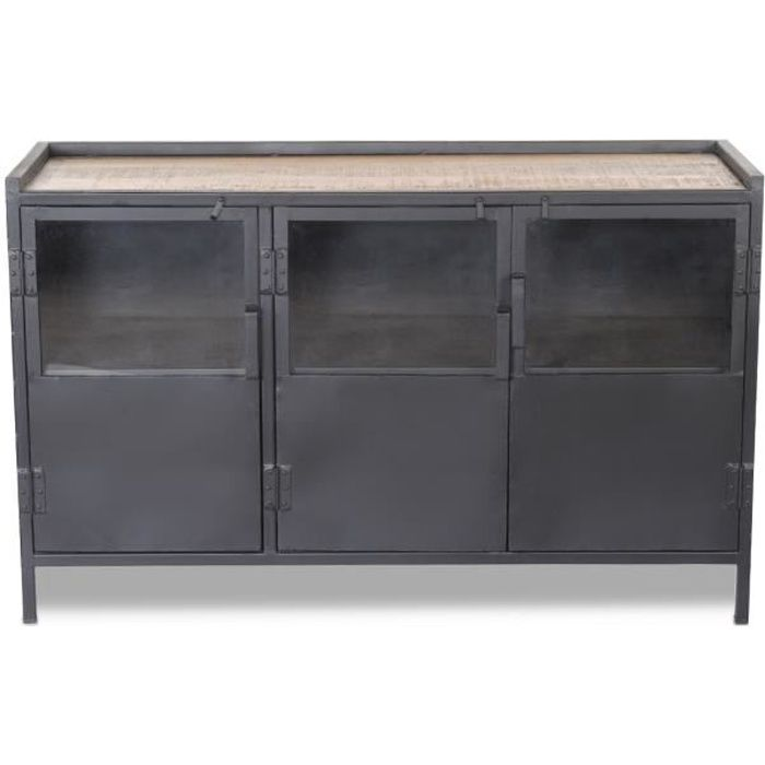 bahut 3 portes vitr es bois m tal noir tripura achat vente buffet bahut bahut 3 portes. Black Bedroom Furniture Sets. Home Design Ideas