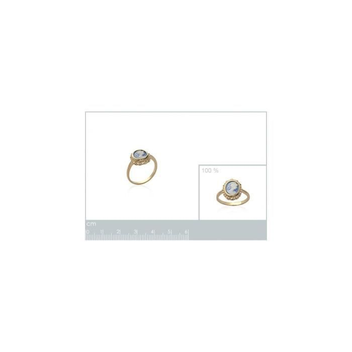 Isady - Anne-Marie Gold Bleu - bague femme - plaqué or 18K - Camay