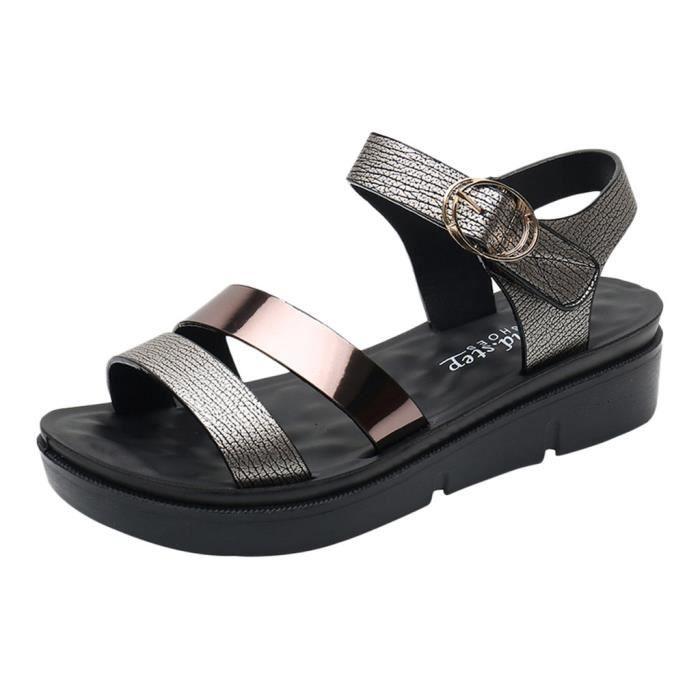 Femmes Femmes d'été mode Chaussures Wedges Cuir Confort Sandales de grande taille_bub760