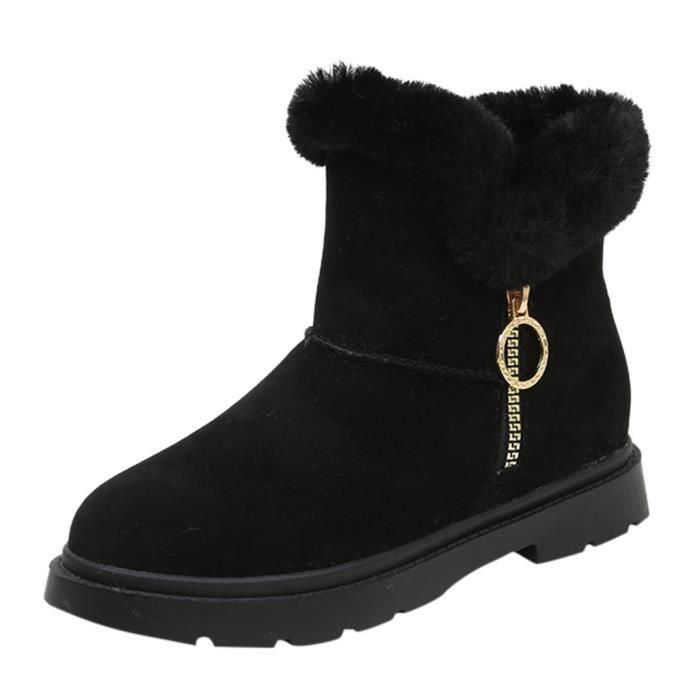 Femmes pour dames Mode d'hiver Casual chaud Chaussures Fermeture à glissière courte cheville Bottes de neige Noir