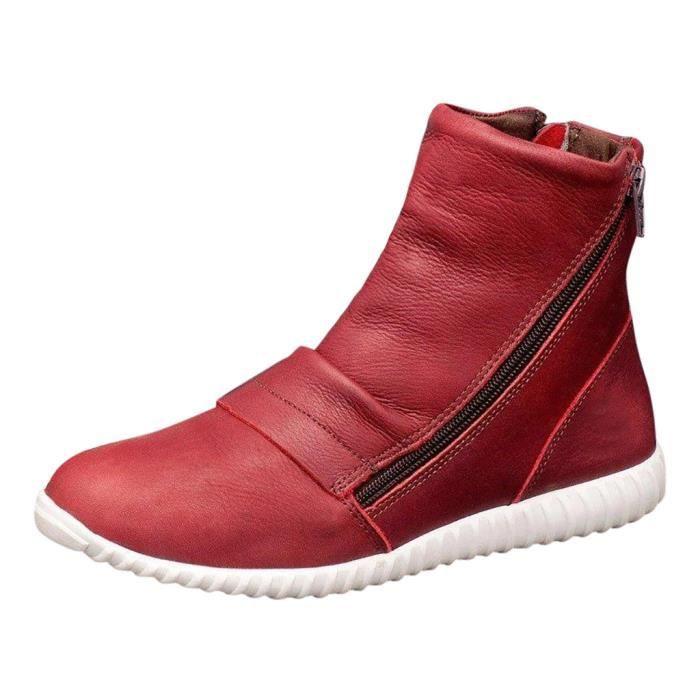 Bottes plates en cuir Retro Casual femme Side Zipper Chaussures bout rond Bottes rouge