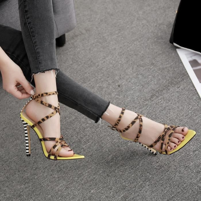Ouvert Toe Stiletto Femmes Talon haut Leopard Strap Sandales pour Cross Party Shoes_bub51