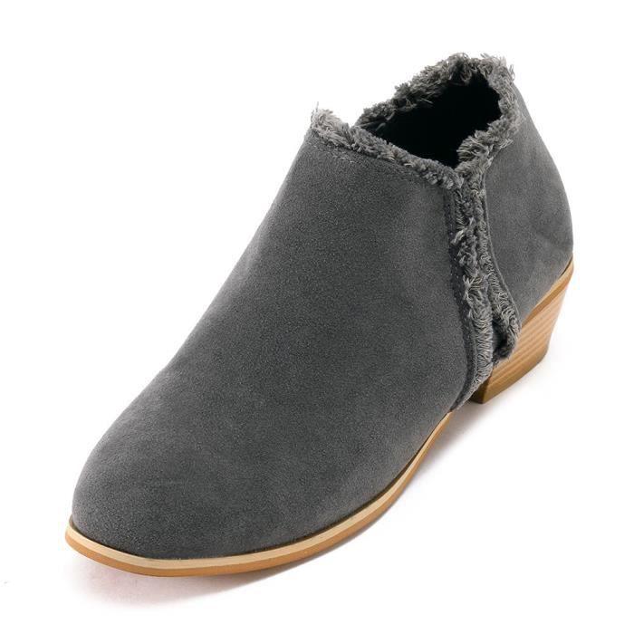 Frotter la place Mode femmes avec des bottes simples britanniques Bottes à talons hauts gris