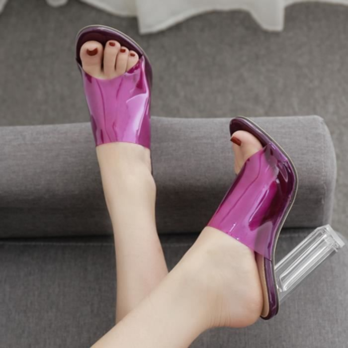 Women's Summer Casual Fashion Crystal Transparencies Slippers High Heels Shoes Violet MHL90612331PP40