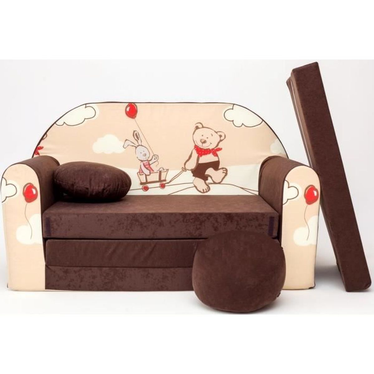 Canape sofa enfant 2 places convertible marron ours et - Canape enfant places ...