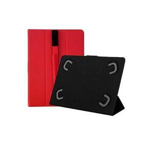 Etui Pour Tablette Leotec 10 1 Type De Livre Fermeture Magnetique Ruban Elastique Rouge Couleur Rouge
