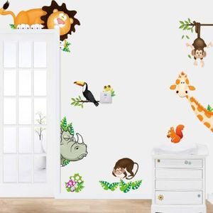 stickers jungle animaux zoo enfants chambre stickers muraux - Chambre Jungle Cdiscount