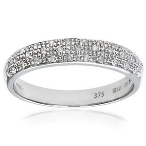 Revoni Bague alliance Diamant Or Blanc 375° Femme: Poids du diamant : 0.15 ct - CD-PR04827W-R