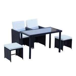 Ensemble table et chaise de jardin Salon de Jardin Encastrable Alice en Résine Tressé