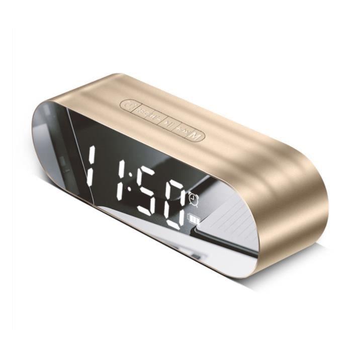 Réveil LED avec Radio FM sans fil Bluetooth Haut-Parleur Miroir Affichage Support Aux TF USB Lecteur de Musique Sans Fil