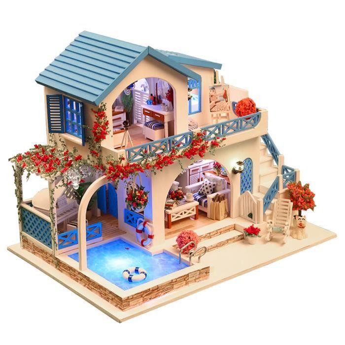 Chambre en Bois DIY Modèle d'appartement Meubles et Accessoires Cadeau de Noël Créatif Pour Enfants et Adulte