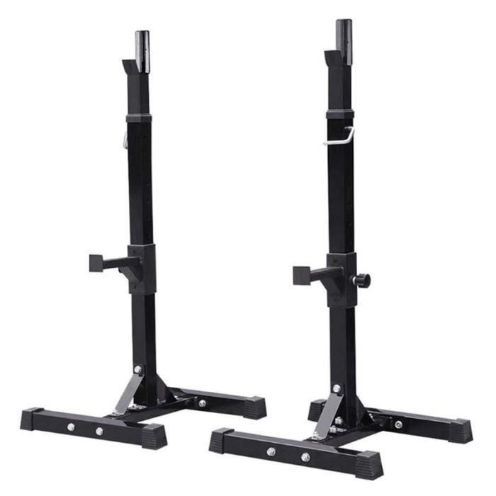 HEK Repose Barre Musculation Support pour Haltères Longs à Disques Noir Charge Max. env. 200kg Réglable en Hauteur 15 Positions