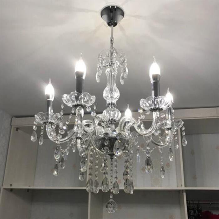 Ollowshop® Moderne 6 branches de cristal plafonnier lustre suspension luminaire salon décoration HB014 -OLL