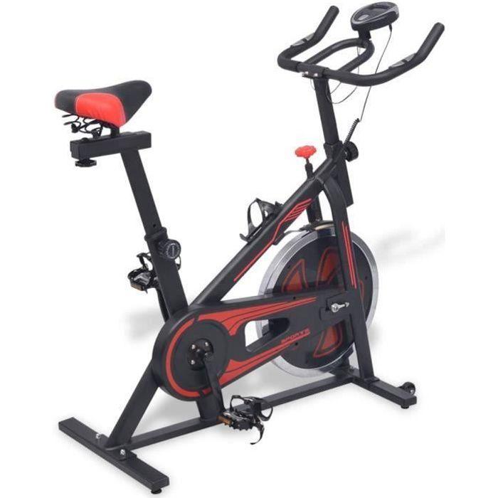 YULINSHOP Vélo d'appartement avec capteurs de pouls Noir et rouge