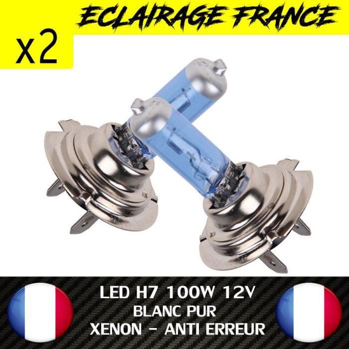 2 AMPOULE LAMPE HALOGENE GAZ H7 BLEU 6500K 100W FEU PHARE XENON WHITE DRL