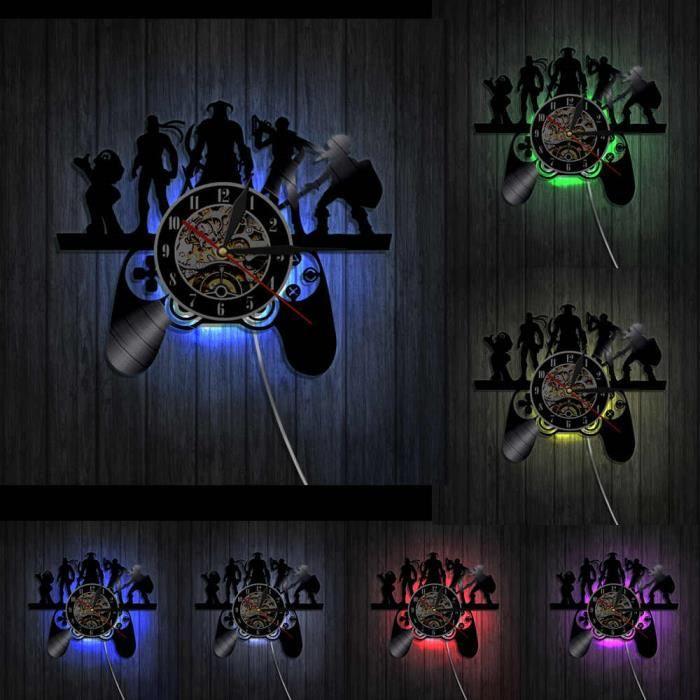 Contrôleur de jeu Design artiste éléments noir horloge murale suspendue lumière magique Geek Gamer jeu contrôleur d-With Led