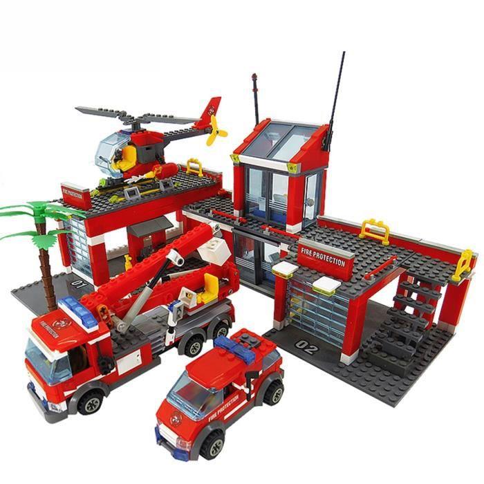 Modèle de caserne de pompiers blocs de construction de construction de ville blocs de construction de bricolage jouets pour enfants