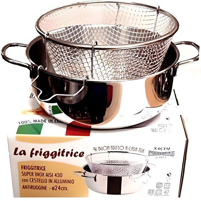 Viscio Trading Friteuse Inox C/Panier aluminium également induction, 24 cm - 165878