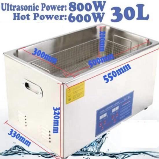 30L Machine de Nettoyage Nettoyeur à Ultrason Acier Inoxydable Numérique Industrie Avec Minuterie -RAI