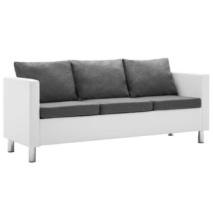 Liya-Canapé à 3 places Faux cuir Blanc et gris clair