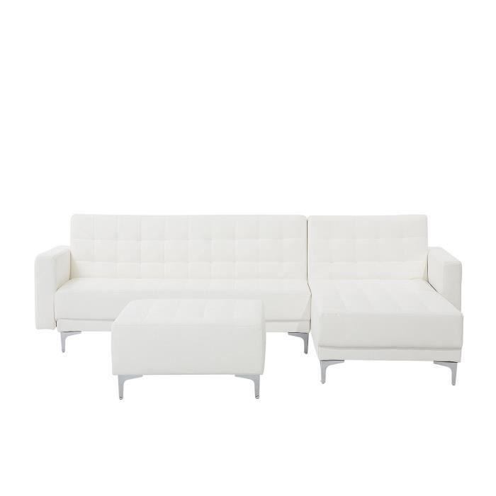 Beliani - Canapé d'angle gauche en simili-cuir blanc avec pouf ABERDEEN