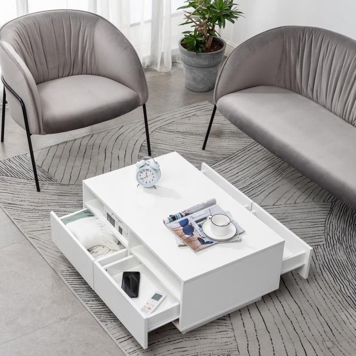 Table basse blanche brillante avec meubles à 4 tiroirs avec un design moderne pour bureau de salon-YIDD