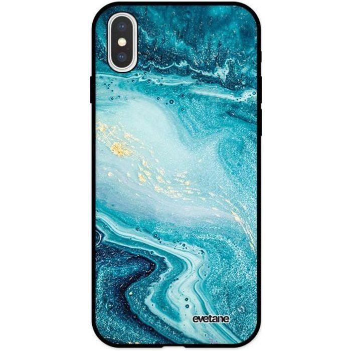 Coque pour iPhone X/ Xs Silicone Liquide Douce noir Bleu Nacré Marbre Ecriture Tendance et Design Evetane