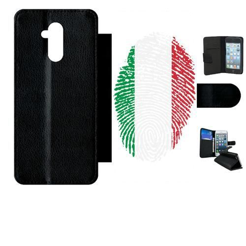 Etui a rabat - Plastique - Noir Huawei Mate 20 Lite 58 EMPREINTE DIGITALE DRAPEAU ITALIE ITALY