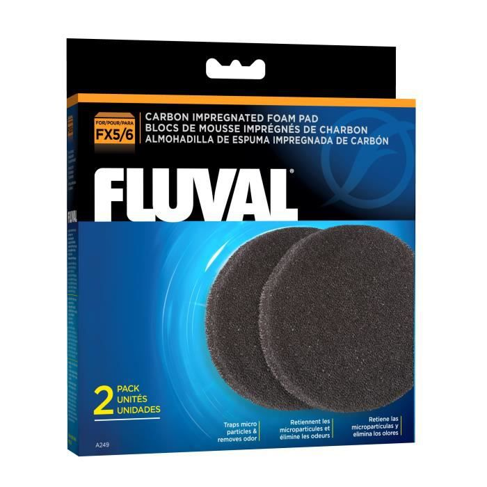 FLUVAL Lot de 2 mousses charbon Fx5 Fx6 - Pour aquarium