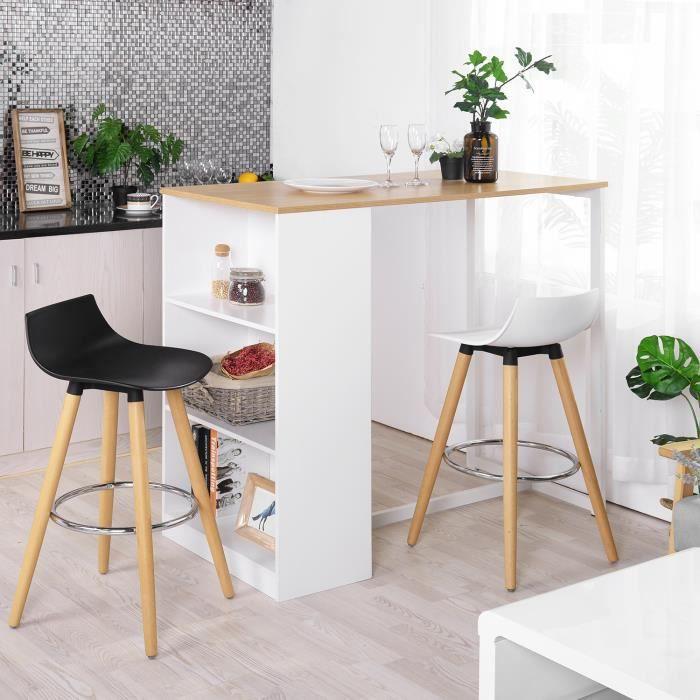 HOMY CASA Table de bar table haute scandinave à 4 personnes avec 3 étagères de rangement blanc