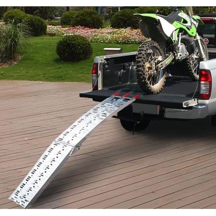 Rampe de chargement pliable pour tous les motos,crusier 225x 28.5x2cm aluminium argent neuf 02