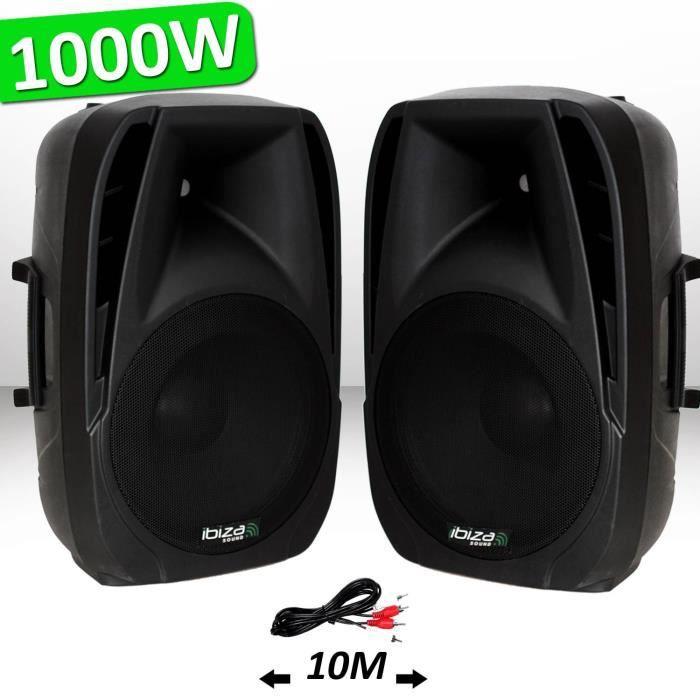 Système Actif Amplifié 1000W Paire d'enceintes Sonorisation Musiciens DJ USB Bluetooth MP3 THERMO MOULEE BT15
