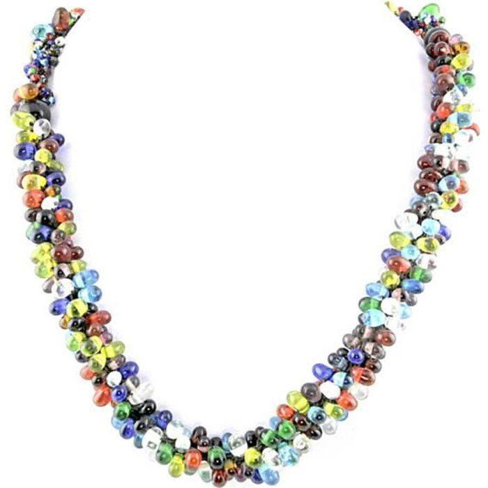 Collier perle Bijou fantaisie perle Verre Femme Multicolore Perle wz-C0103