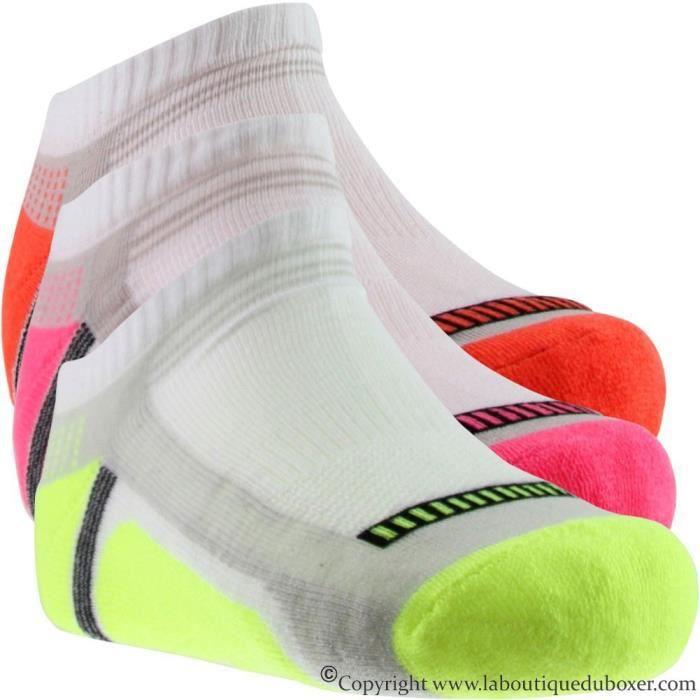 SOCKS EQUIPEMENT Lot de 3 paires de Socquettes Femme Microcoton TECHNIQUE Blanc Multicolore