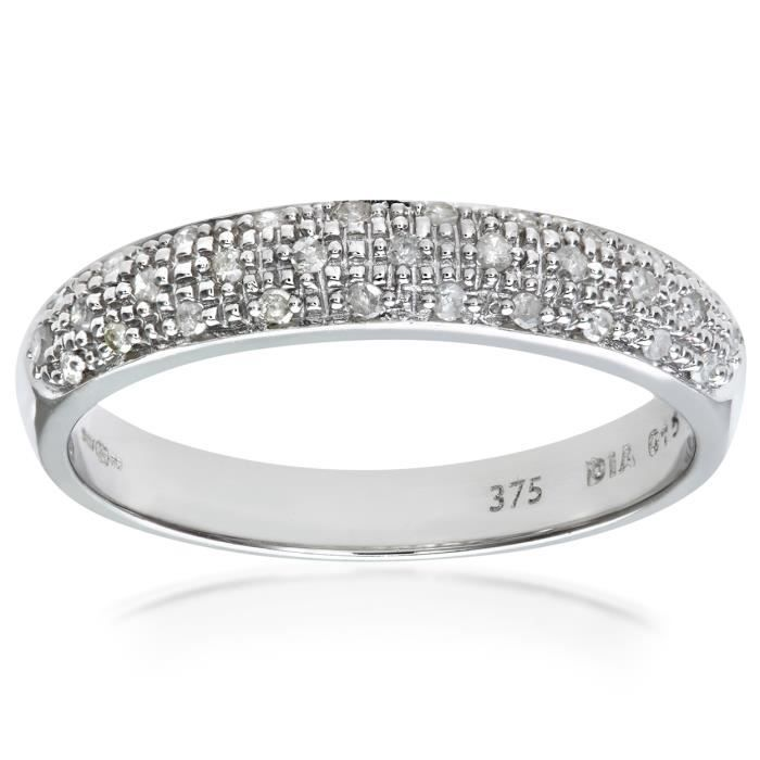Revoni Bague alliance Diamant Or Blanc 375° Femme: Poids du diamant : 0.15 ct - CD-PR04827W-R