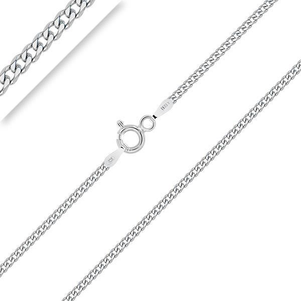 PLANETYS - Chaîne Argent 925/1000 Rhodié Maille Gourmette Diamantée - 1.5 mm - 40-45-50-55-60-65-70 cm