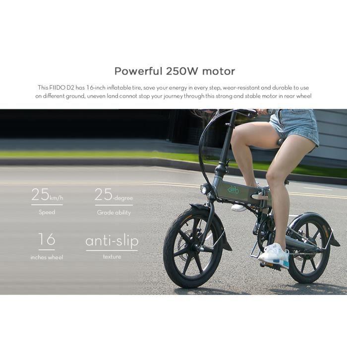 FIIDO D2 Vélo Electrique VTT adulte Pliant Cyclomoteur E-Scooter Intelligent 250 W 25 km/h 7.8AH avec doubles freins à disque Gris