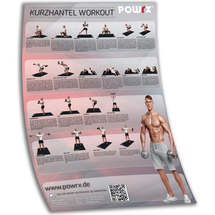 Affiche de formation DIN A1 Affiche d'exercice Haltère avec les 20 meilleurs exercices d'haltère Couleur: Rouge